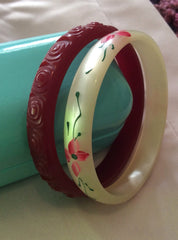 Bakelite Cherry Bangle Bracelet, 1940s Vintage Jewelry