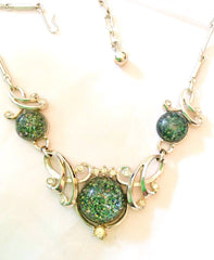 NOW SOLD Lucite Necklace, Green, Confetti, Rhinestone, 1950s Vintage Jewelry