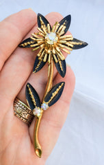 NOW SOLD Art Deco Enamel Flower Brooch, Aurora Borealis Rhinestone