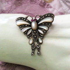 SOLD Art Deco Revival Butterfly Brooch Mother of Pearl, Marcasite, Sterling Silver