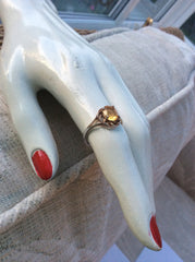 NOW SOLD Citrine Ring, Sterling Silver, Art Deco Revival