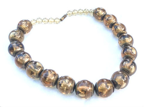 Rootbeer Lucite Necklace, Beads, Vintage Jewelry