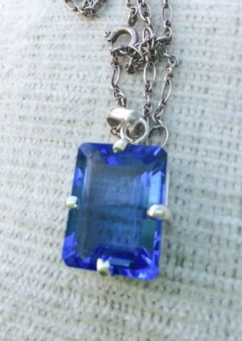 NOW SOLD Sapphire Pendant, Modernist, Sterling Silver, Art Deco Revival Vintage Jewelry