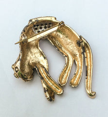 NOW SOLD Figural Pin, Leopard Brooch, Enamel, Retro 1950s Vintage Jewelry, Gift for Her