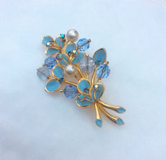 NOW SOLD Blue Enamel Flower Brooch, Kramer, Vintage Jewelry