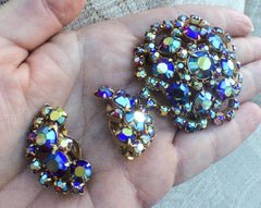 NOW SOLD Blue Aurora Borealis Rhinestone Jewelry Set, Brooch w Earrings, Retro Vintage Jewelry