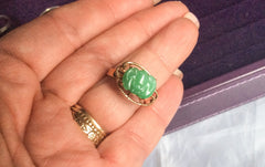NOW SOLD Jade Ring, Bat Ring, Apple Green, 14K Gold, Art Deco Chinese Vintage Fine Jewelry