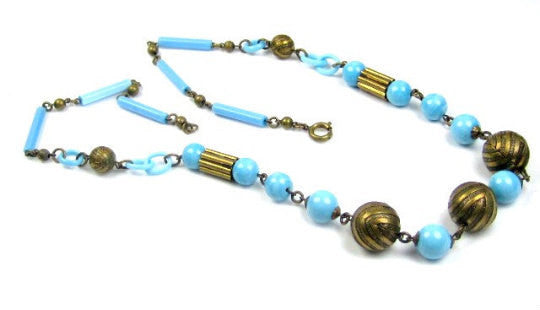 French Celluloid Necklace, Blue Robins Egg, 1920s Art Deco, Vintage Jewelry