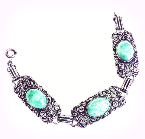 Peking Glass, Green Art Glass, Sterling Silver Bracelet, Art Nouveau
