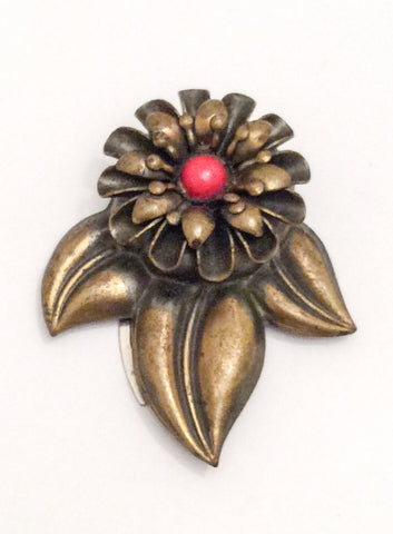 NOW SOLD Art Deco Coral Glass Flower Dress Clip, Vintage Jewelry