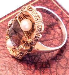 Fahrner Art Nouveau Ring, Smokey Topaz with Pearl, Sterling Silver, German Vintage Fine Jewelry
