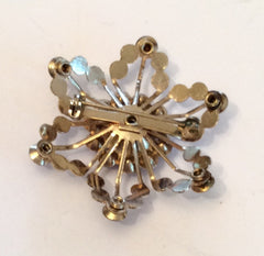 NOW SOLD Vintage Rhinestone Brooch Pin Topaz Snowflake Vintage Jewelry