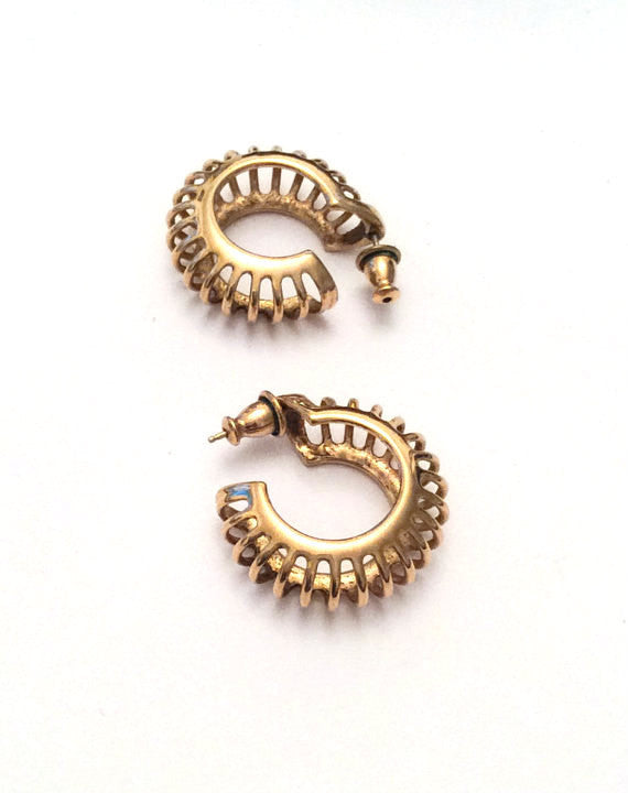 NOW SOLD Monet Earrings, Gold Hoops, Pierced, 1960s Vintage Jewelry