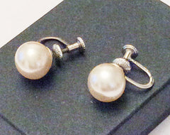 NOW SOLD Vintage Trifari Pearl Earrings, Sterling Silver, 1940s
