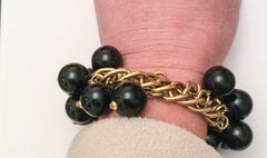 Napier Bracelet w Earrings Black Bead Cha Cha Cha Bracelet Vintage Jewelry