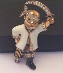 NOW SOLD Rhinestone Enamel Pirate Pin or Brooch, Ciner Jewelry
