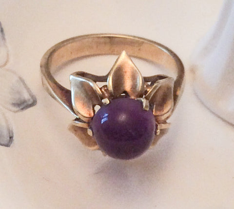 NOW SOLD Victorian Amethyst Cabochon Ring, 14K Gold, European Gold, Vintage Fine Jewelry