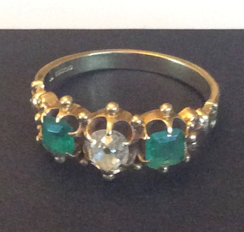 NOW SOLD Emerald Diamond Engagement Ring, 14K Gold Ring, Victorian Fine Vintage Jewelry