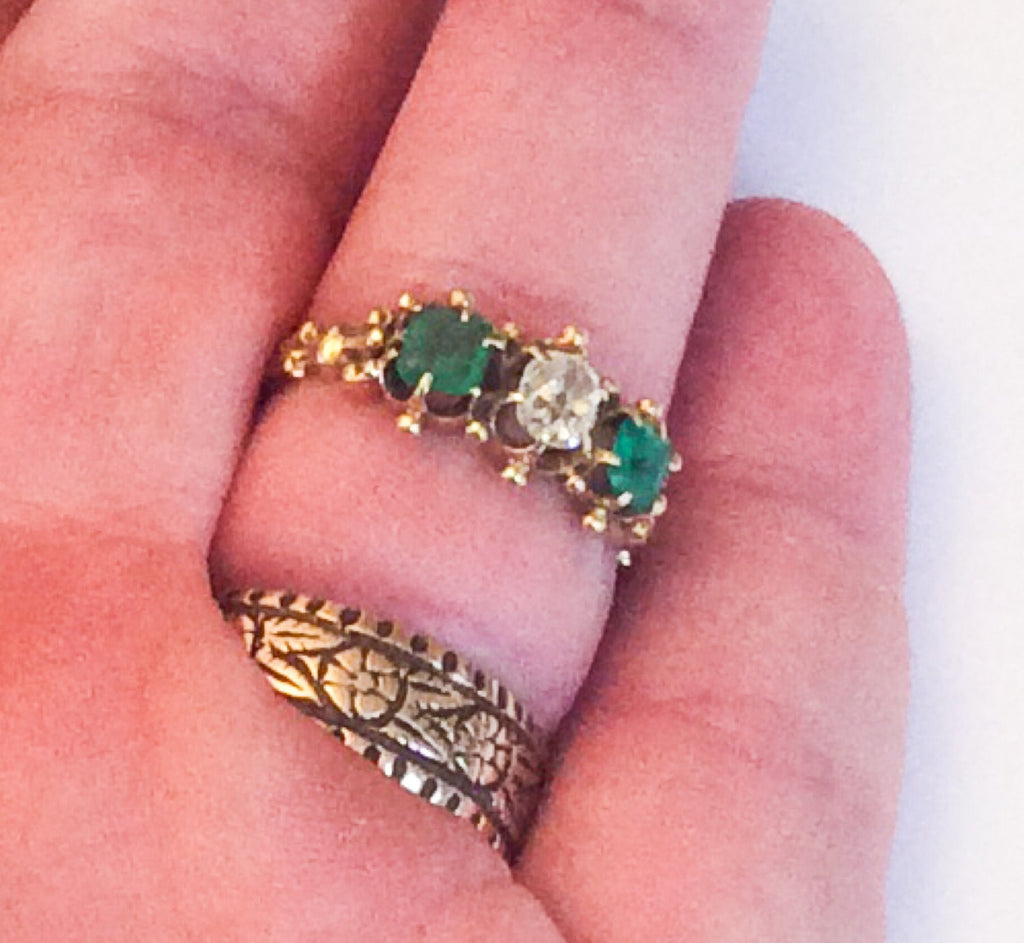 NOW SOLD Emerald Diamond Engagement Ring, 14K Gold Ring, Victorian ...