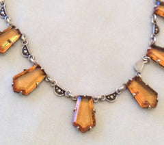 NOW SOLD Art Deco Necklace, Amber Glass, Marcasite, European Sterling Silver
