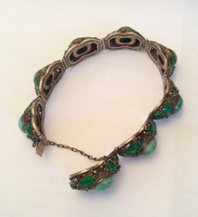 Persian Turquoise, Enamel Bracelet, Chinese Silver, Art Deco