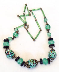 NOW SOLD Confetti Glass Necklace, Green Art Deco 1920s Vintage Jewelry