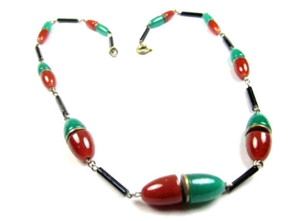 Art Deco Necklace, Carnelian Glass, Vintage Jewelry