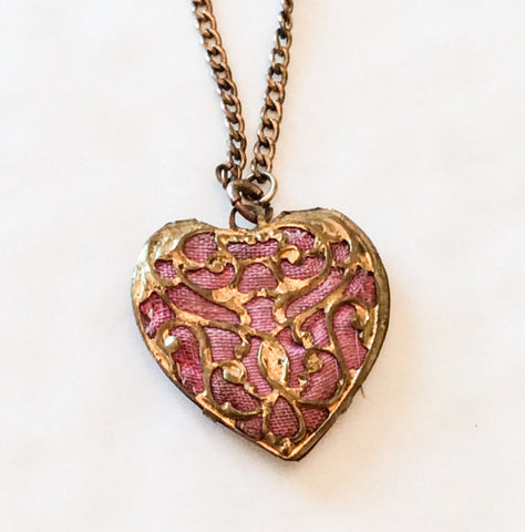 NOW SOLD Art Nouveau Heart Locket, Pendant Vintage Jewelry