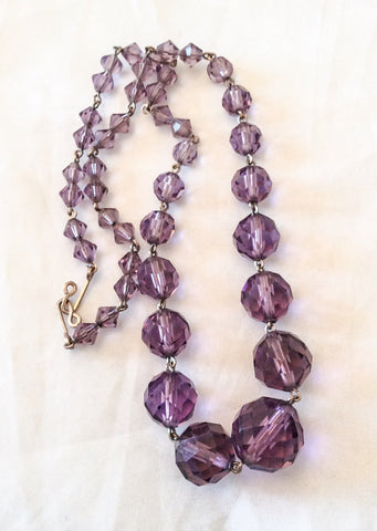 Amethyst Glass Necklace, Art Deco Vintage Jewelry SALE