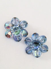 NOW SOLD Blue Crystal Jewelry Set, Brooch with Earrings 1960s Vintage Jewelry