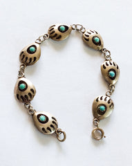 NOW SOLD Turquoise Bracelet Native American Sterling Silver Shadow Box Vintage Jewelry