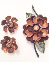 NOW SOLD Enamel Rose Brooch with Earrings, Coro, Vintage Jewelry