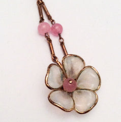 Poured Glass Necklace, Art Deco Pink Flower Trifari 1940s