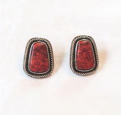 NOW SOLD Goldette Earrings, Southwestern Style, Coral Lucite, 1950s Vintage Jewelry