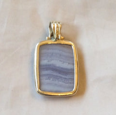 Banded Agate Pendant, Blue, Sterling Silver, Vintage Jewelry