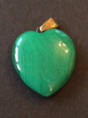 NOW SOLDMalachite Heart Pendant, Mid Century Vintage Jewelry