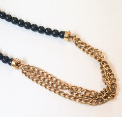 SOLD Monet Necklace Black Bead Multi Strand Chain Necklace 1950s Vintage Jewelry