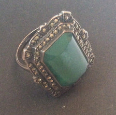 NOW SOLD Chrysoprase Ring, Marcasite, Sterling Silver, Art Deco 1920s Vintage Jewelry