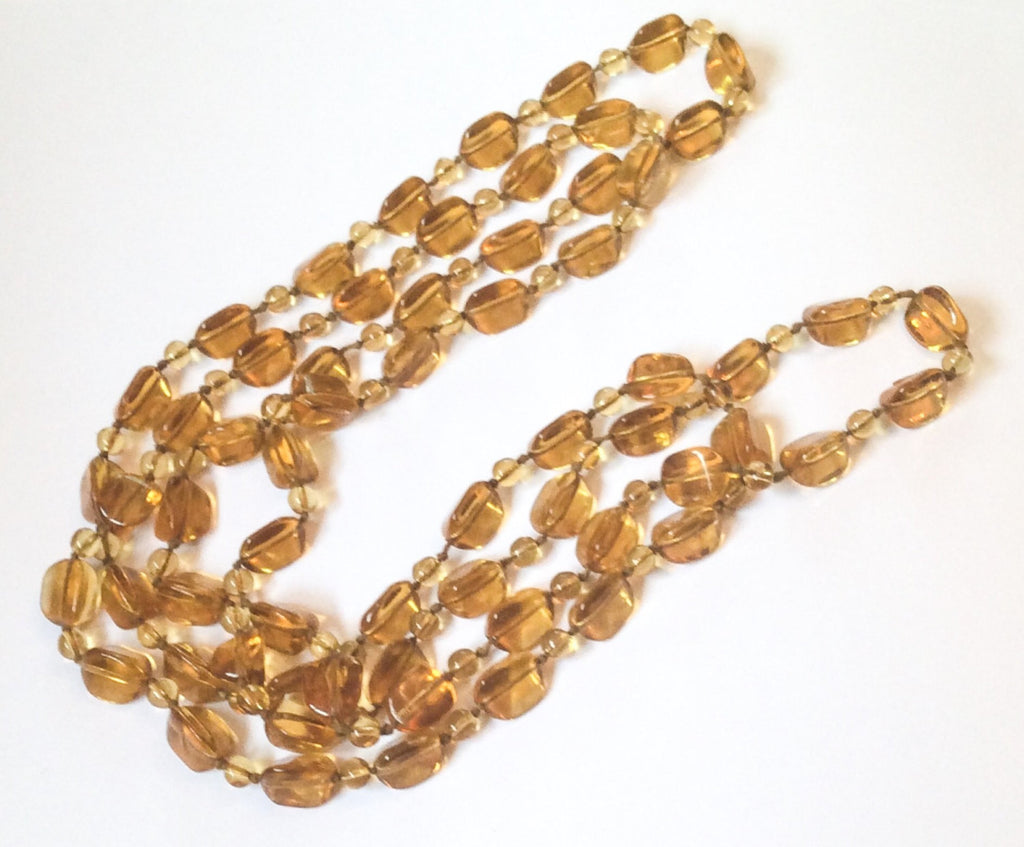 Golden Topaz Lucite Bead Necklace, 1960s Vintage Jewelry