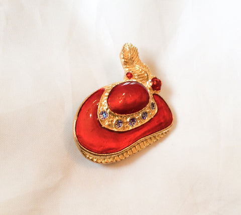 NOW SOLD Red Enamel Hat Pin, Rhinestone Brooch, Vintage Jewelry