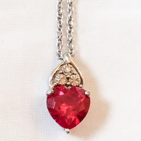 Red Rhinestone Pendant, Cubic Zirconia, Sterling Silver, Australian Vintage Jewelry