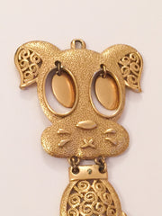NOW SOLD Golden Dog Pendant, Sarah Coventry, Vintage Jewelry