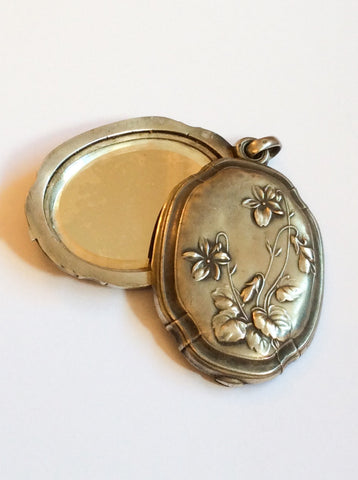 NOW SOLD French Art Nouveau Slide Locket Pendant, Violets, European Silver Vintage Jewelry
