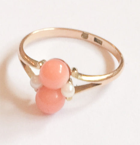 NOW SOLD Coral Pearl Ring, 15K Gold, Art Deco Vintage Fine Jewelry
