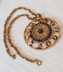 NOW SOLD Large Circle  Pendant Necklace, Rhinestone, Open Metalwork,  Vintage Jewelry