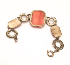 Art Deco Bracelet, Satin Glass, Vintage Jewelry