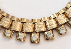 NOW SOLD Victorian Revival Book Chain Bracelet, Rhinestone
