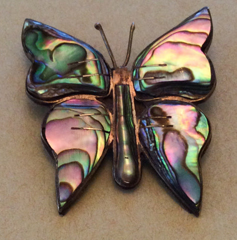 Silver Butterfly Brooch, Abalone Shell, Mexico,