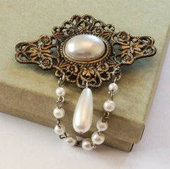 NOW SOLD Baroque Pearl Brooch Art Nouveau Revival Mid Century Vintage Jewelry