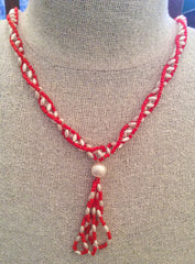 Red Glass Bead Pearl Necklace, Art Deco Flapper, Vintage Jewelry